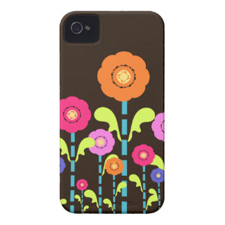 Cute Colorful Flowers Brown Blackberry Bold  Case- Case-Mate iPhone 4 Case