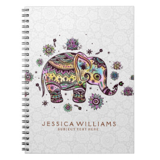 Cute Colorful Flowers Elephant Illustration Note Books