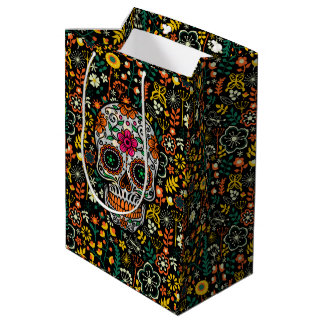 Cute Colorful Flowers & Floral Sugar Skull Medium Gift Bag