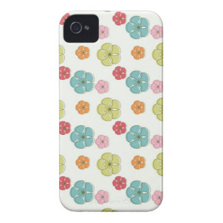 Cute Colorful Flowers Pattern Blue Green Orange iPhone 4 Case-Mate Cases