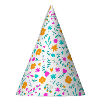Cute colorful flowers pattern party hat
