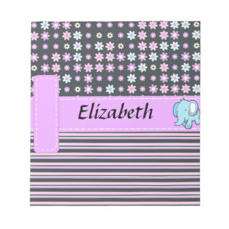 Cute Colorful Flowers Stripes Elephant Notepad