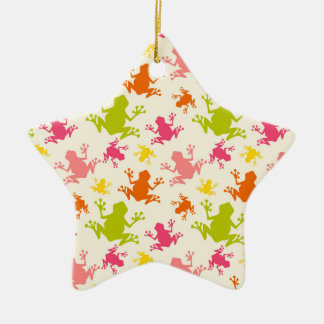 Cute Colorful Frogs Pattern Ceramic Ornament