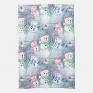 Cute Colorful Funny Winter Season Snowman Pattern Tea Towel