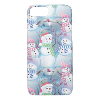 Cute Colorful Funny Winter Season Snowmen Pattern iPhone 8/7 Case