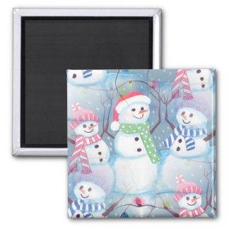 Cute Colorful Funny Winter Season Snowmen Pattern Square Magnet