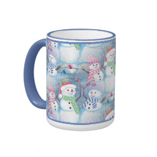 Cute Colorful Funny Winter Season Snowmen Pattern Ringer Mug