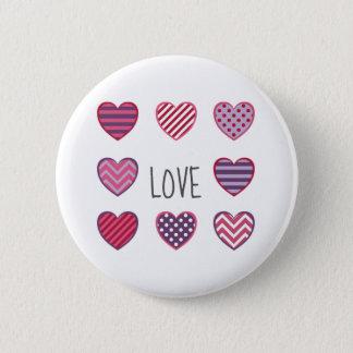 Cute Colorful Geometric Hearts Love Valentine 6 Cm Round Badge
