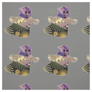 Cute colorful ghost Halloween Fabric