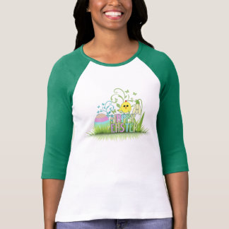 Cute Colorful Happy Easter Egg, Chick and Snowdrop T-Shirt