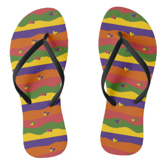 Cute Colorful Hearts and Stripes Design Flip Flops Thongs