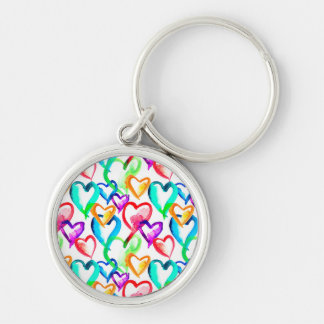 Cute colorful hearts pattern Silver-Colored round key ring