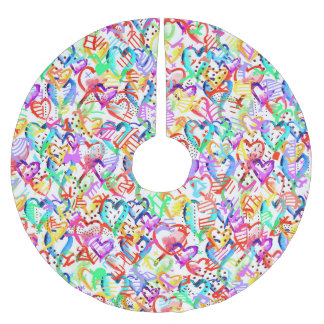 Cute colorful hearts patterns brushed polyester tree skirt