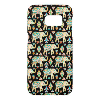 Cute colorful indian elephants pattern