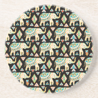 Cute colorful indian elephants pattern beverage coasters