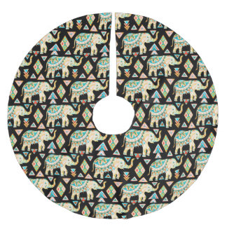 Cute colorful indian elephants pattern brushed polyester tree skirt