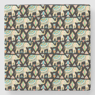 Cute colorful indian elephants pattern stone coaster