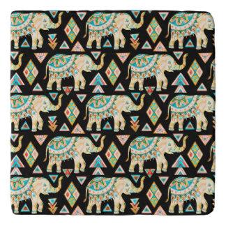 Cute colorful indian elephants pattern trivet