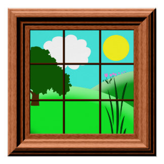 Cute Colorful Kids Fake Window View Cartoon Poster