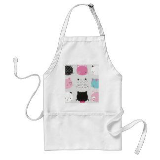 Cute colorful kitty heads pattern,fun kids girly apron