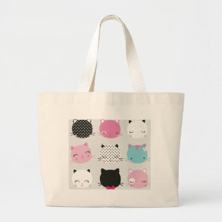 Cute colorful kitty heads pattern,fun kids girly tote bags