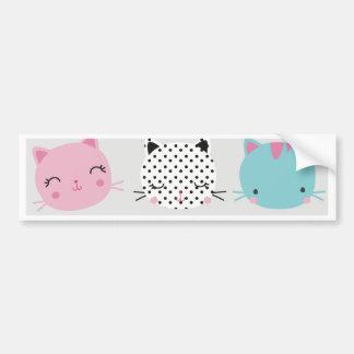 Cute colorful kitty heads pattern,fun kids girly bumper stickers