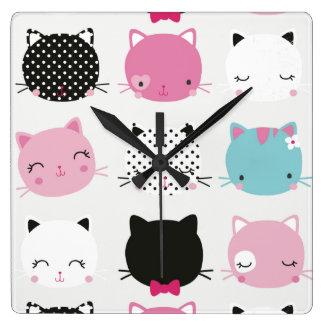 Cute colorful kitty heads pattern,fun kids girly clock