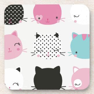 Cute colorful kitty heads pattern,fun kids girly coasters