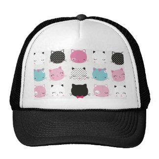Cute colorful kitty heads pattern,fun kids girly trucker hats