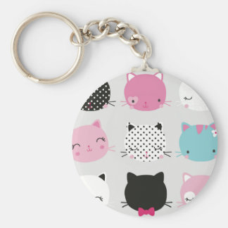 Cute colorful kitty heads pattern,fun kids girly basic round button key ring