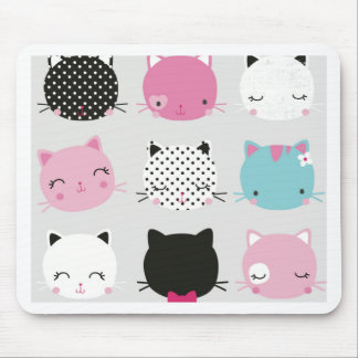 Cute colorful kitty heads pattern,fun kids girly mouse pad