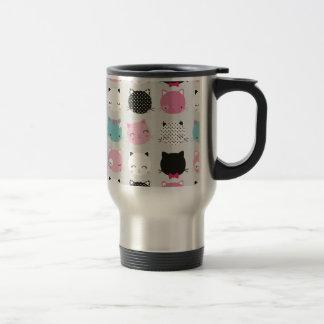 Cute colorful kitty heads pattern,fun kids girly coffee mug