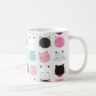 Cute colorful kitty heads pattern,fun kids girly mugs