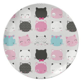 Cute colorful kitty heads pattern,fun kids girly party plate