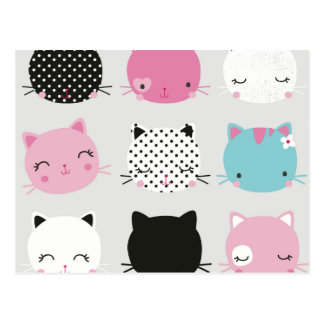 Cute colorful kitty heads pattern,fun kids girly post cards
