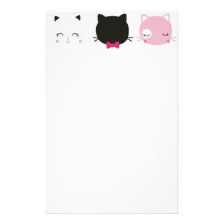 Cute colorful kitty heads pattern,fun kids girly personalized stationery