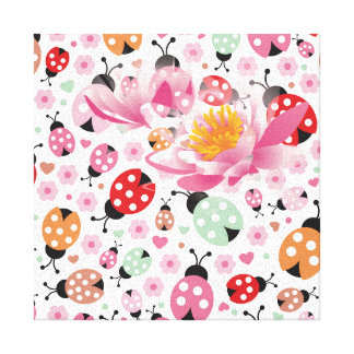 Cute,colorful,lady-bird,floral,girly,for kids,fun, canvas print