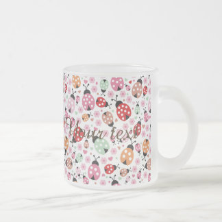 Cute,colorful,lady-bird,floral,girly,for kids,fun, frosted glass mug
