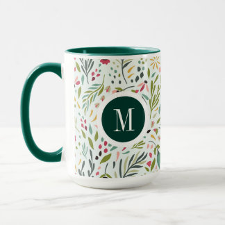 Cute Colorful Leafs And Flowers Monogram Mug