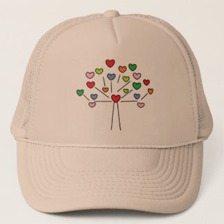 Cute Colorful LOVE Hearts TREE Design Trucker Hat