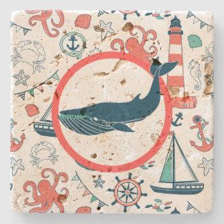 Cute Colorful Marine Pattern Blue Shark Stone Beverage Coaster