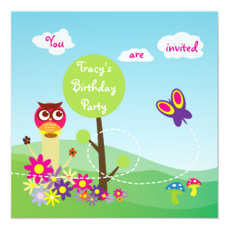 Cute Colorful Meadow Flower Butterfly Owl Mushroom 5.25x5.25 Square Paper Invitation Card