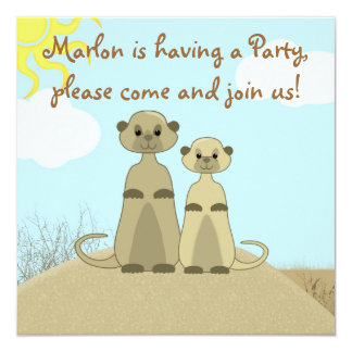 Cute & Colorful Meerkat Cartoon Party Invite