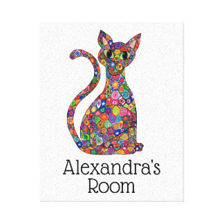 Cute Colorful Mosaic Flower Cat Monogram Name Room Canvas Print