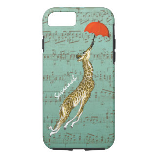 Cute Colorful Musical Flying Giraffe Red Umbrella iPhone 7 Case