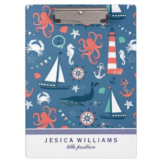 Cute Colorful Nautical Pattern Clipboard