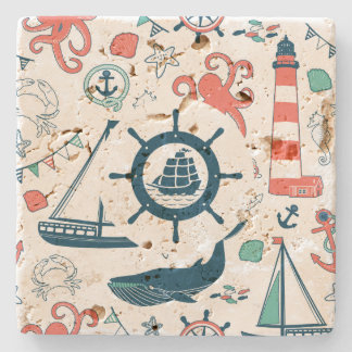 Cute Colorful Nautical Pattern With Boat Wheel Stone Coaster