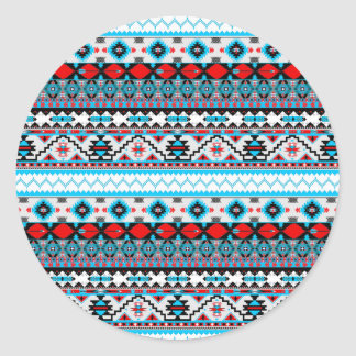 Cute colorful navajo patterns classic round sticker