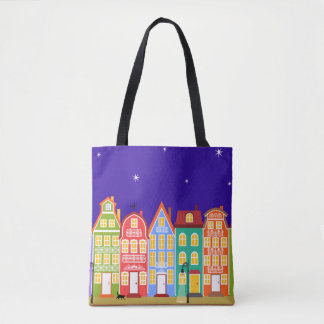 Cute Colorful Old Town Night Walking Cat Bag