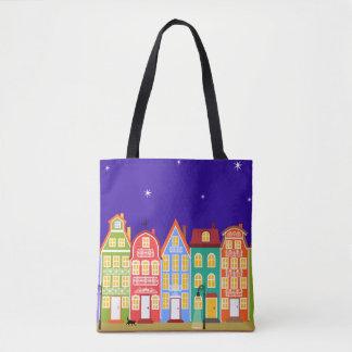 Cute Colorful Old Town Night Walking Cat Bag